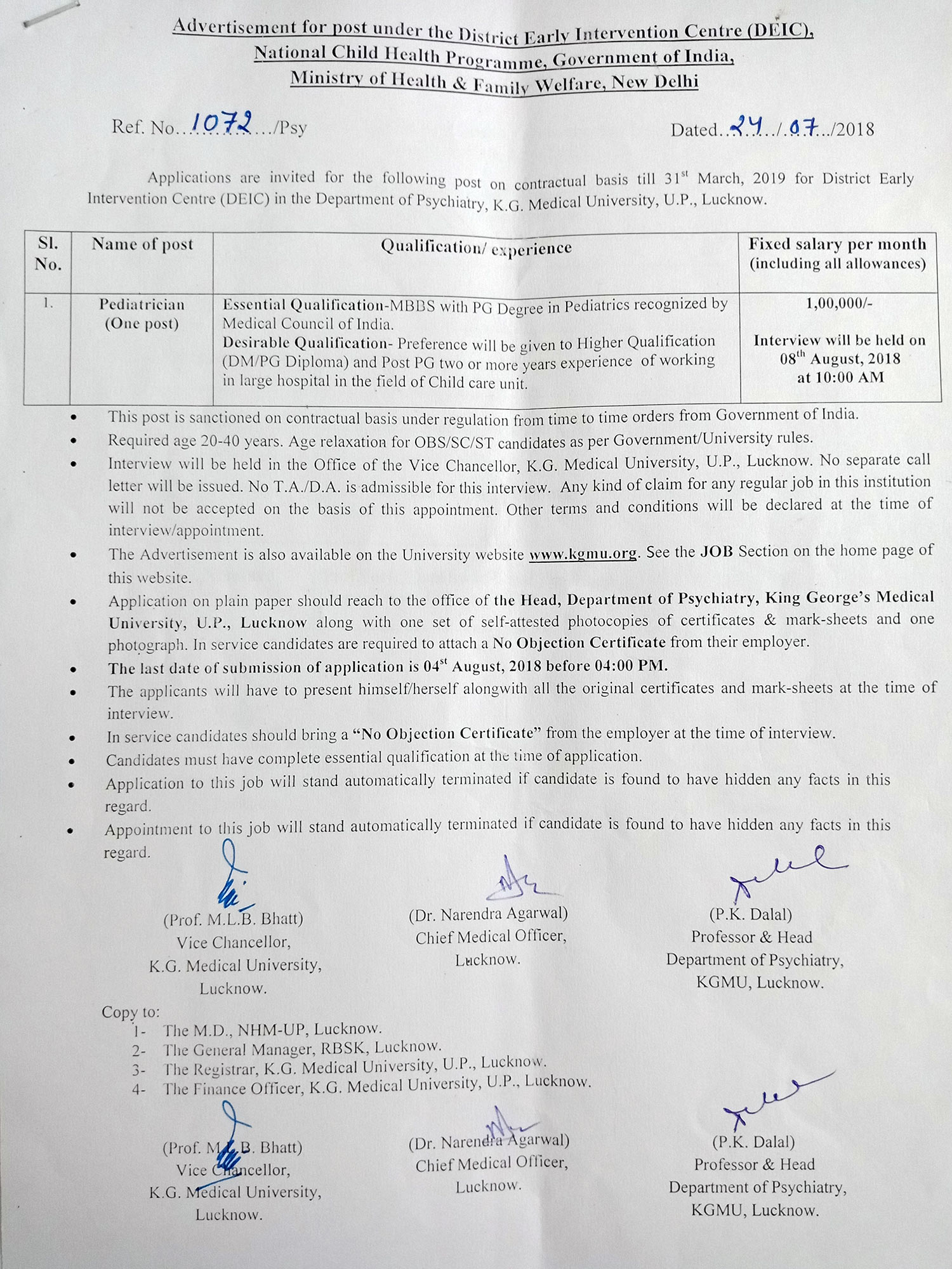King George\'s Medical University, Chowk, Lucknow U.P. INDIA
